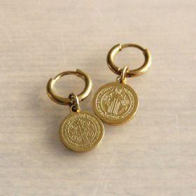 Bazou Creolen met muntje goud