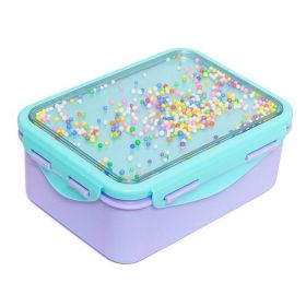 Broodtrommel confetti balletjes blauw