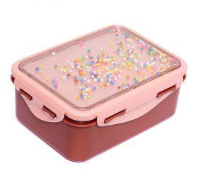 Broodtrommel confetti balletjes roze