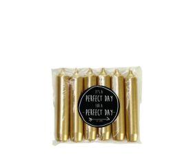 Kaarsjes klein goud 12 cm