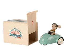 Maileg Muis in auto met garage