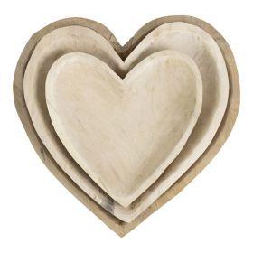 Schaal hart hout Medium