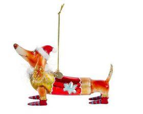 Vondels kerst decoratie Dachshund hat brown