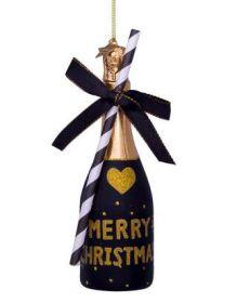 Vondels Kerst ornament Champagne bottle Black